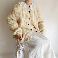 80's Over Silhouette Irish Cable Hand Knit Cardigan