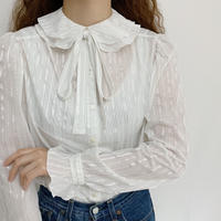 Euro Vintage Double Collar Ribbon Tie Blouse