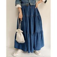 90's  Denim Tiared Volume Flare Long Skirt