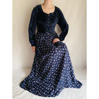 Euro Vintage Velours × Flower Print Lace Up Design Dress