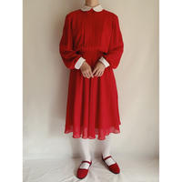 80's Round Collar Chiffon Dress