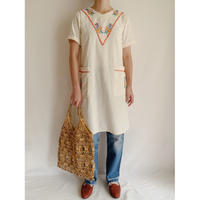 60's -70's Mexico Flower Hand Embroidery Cotton Dress