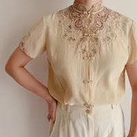 70's Hand Embroidery Silk China Blouse