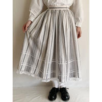 Euro Vintage Cotton Striped Flare Long Skirt