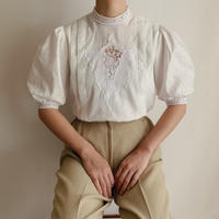 Euro Vintage Stand Collar Puff Sleeve Blouse