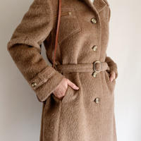 80's Euro Vintage Open Collar Long Coat With Belt