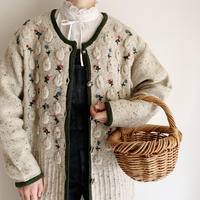 Dead Stock Euro Vintage Flower Embroidery Long Knit Cardigan