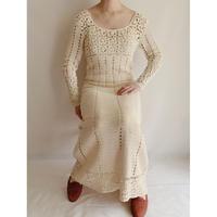 70's Euro Vintage Crochet Hand Knitting Long Dress