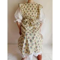 50's USA Cotton Clock and Flower Print Apron Dress