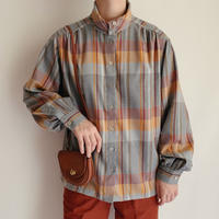 Euro Vintage Plaid Stand Collar Blouse