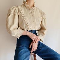 Euro Vintage Cut Work Lace Volume Sleeve Blouse