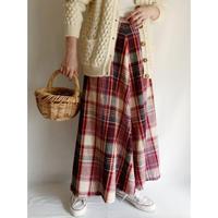 70's USA Plaid Flare Long Skirt