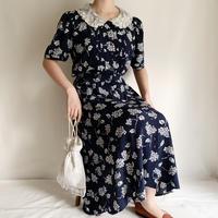 "80's ""Karin Swevens"" Flower Print Front Buttons Dress"