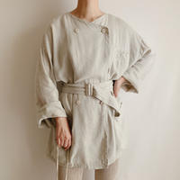 Euro Vintage Pale Green Linen Double Button Jacket With Belt