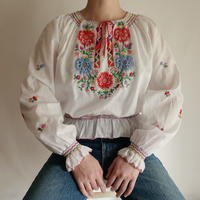 70's Euro Vintage Flower Hand Embroidery Folk Tunic