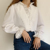Euro  Vintage Cut Worn Lace Blouse