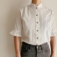 Euro Vintage Pleated Design Half Sleeve Cotton Blouse