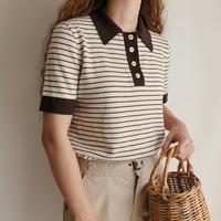 Euro Vintage Brown × Light Beige Knit Polo Shirt