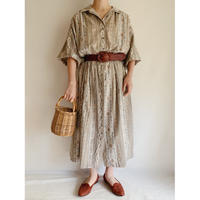 USA 80's Open Collar Long Shirt Dress