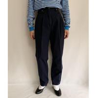 80's Navy Blue Cotton Tuck Pants