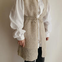 Euro Vintage Long Knit Vest With Waist Ribbon