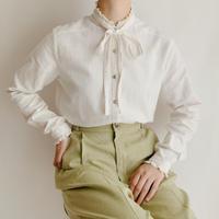 Euro  Vintage Cotton Linen Blouse With Ribbon
