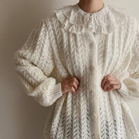 Euro Vintage Open Work Volume Sleeve Knit Cardigan