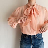 80's Euro Vintage Volume Sleeve Blouse with Ribbon