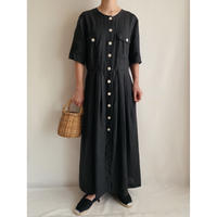 Euro Vintage Front Buttons Long Dress