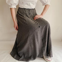 Euro Vintage Flower Printed Front Buttons Long Skirt