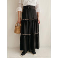 70's Euro Vintage Teared Flare Long Skirt