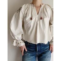 - 40's Euro Vintage Folk Linen and Cotton Blend Blouse
