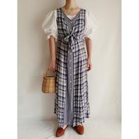 Euro Vintage Plaid Front Buttons Long Dress