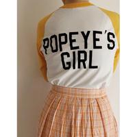 "90's USA "" POPEYE'S GIRL "" Flock Back Printed Raglan Tee Shirt"