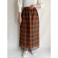 90's Euro Vintage Plaid Long Skirt With Fringe