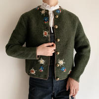 Euro Vintage Flower Embroidery Knit Cardigan