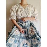 70's Euro Vintage Country Patchwork Pattern Flare Long Skirt