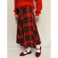 Euro Vintage Plaid Pleats Design Wrap Skirt