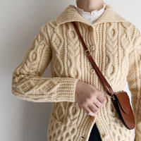 60's - 70's Irish Cable Hand Knit Cardigan