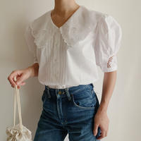 Euro Vintage Flower Cut Work Lace Collar Blouse