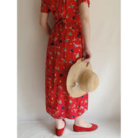 Flower and Hat Print Rayon Dress With Ribbon