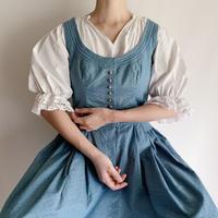 70's Euro Vintage Cotton Flower Print Flare Dress