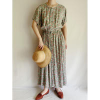 All Over Flower Print Front Buttons Long Dress