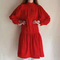 80's USA Corduroy Volume Sleeve Dress