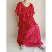 90's Fuchita Pink Gather Long Summer Dress