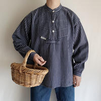 Euro Vintage Fishermen's Striped Shirt With Pocket