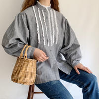70's - 80's Euro Vintage Stand Collar Volume Sleeve Blouse