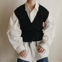 Euro Vintage Black Knit Vest Waist Ribbon