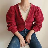 Euro Vintage Volume Sleeve Cotton Knit Cardigan