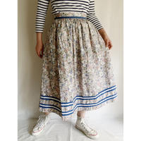 80's Euro Vintage Cotton Flower Printed Folk Flare Skirt